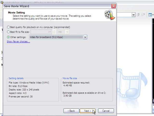 4 Compress For The Web (Windows Movie Maker)